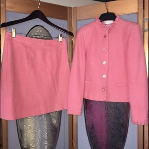 Coral skirt jacket ensemble